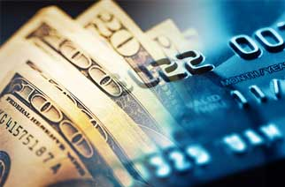 Credit cards and cash merge together