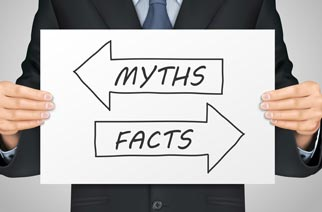 A sign separating bankruptcy myths from facts